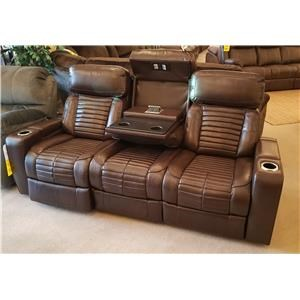 Power Headrest and Lumbar Reclining Sofa with Base Lights and Center Dropdown Table