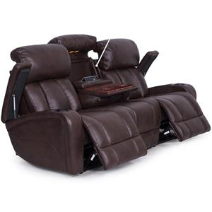 Casual Power Reclining Sofa with Storage and Cup Holders