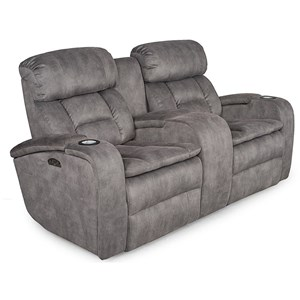 Casual Reclining Love Seat with Power Headrest and Cup Holders