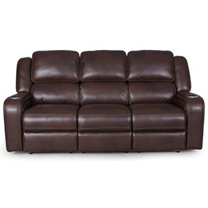 Power Headrest Reclining Sofa with Lumber Support and LED Lighting