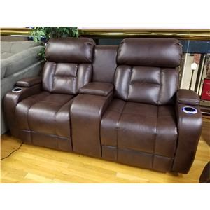 Power Reclining Console Loveseat with Power Headrest in Barron Saddle