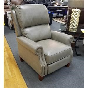 Transitional High Leg Recliner with Push Thru Arms