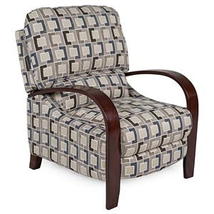 Contemporary Recliner with Push Arms