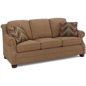 Traditional Sofa with Rolled Arms and Bun Feet
