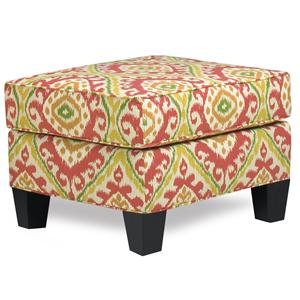 Contemporary Ottoman with Welt Cords and Exposed Wood Block Legs