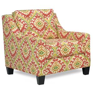 Contemporary Chair with Tufted Loose Pillow Back and Track Arms