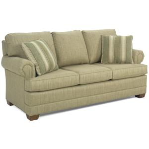 Casual Sofa with Rolled Arms and Wood Block Feet