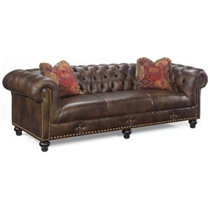 Transitional Sofa with Button Tufted Back and Rolled Tuxedo Arms