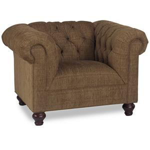 Transitional Chair with Tufted Back and Rolled Arms
