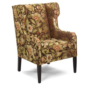 Traditional Wing Back Chair with Exposed Wood Block Legs