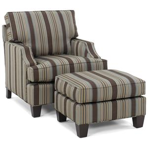 Contemporary Arm Chair and Rectangular Ottoman