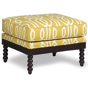 Ottoman with Exposed Wood Frame and Legs