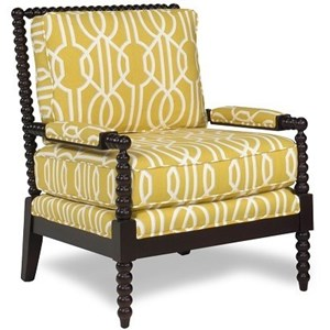 Transitional Upholstered Chair with Exposed Wood Frame