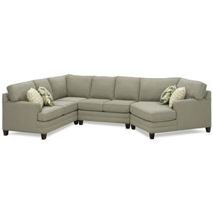 Casual Sectional Sofa with Cuddle and Exposed Wood Block Legs