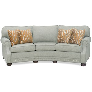 Casual Conversation Sofa with Exposed Wood Block Legs