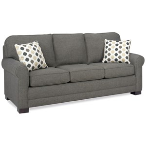 Casual Queen Sofa Sleeper with Exposed Wood Block Legs