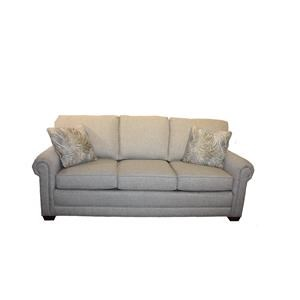 Casual Sofa with Attached Back Pillows and Exposed Wood Block Legs