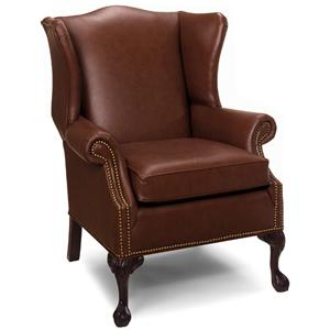 Traditional Wing Back Chair with Exposed Wood Legs