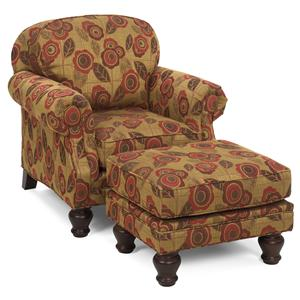 Traditional Arm Chair and Rectangular Ottoman