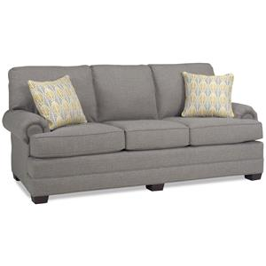 Transitional Sofa with Three Cushions and Tapered Wood Legs