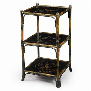Chinoiserie Hand Painted 3 Tier Etagere Display Bookcase