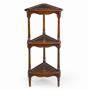 Engraved 3 Tier Corner Etagere Display Bookcase