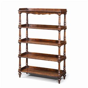 Antiqued Wood 5 Tiered Etagere Display Bookcase