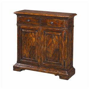 Traditional 2 Drawer 2 Door Antique Wood Side Cabinet