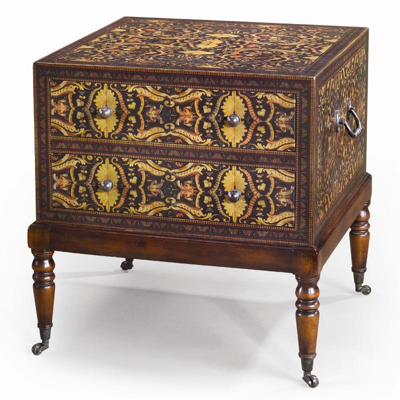 Chest of Drawers Bedside Chest/ Lamp Table with Casters by Theodore Alexander at Baer's Furniture