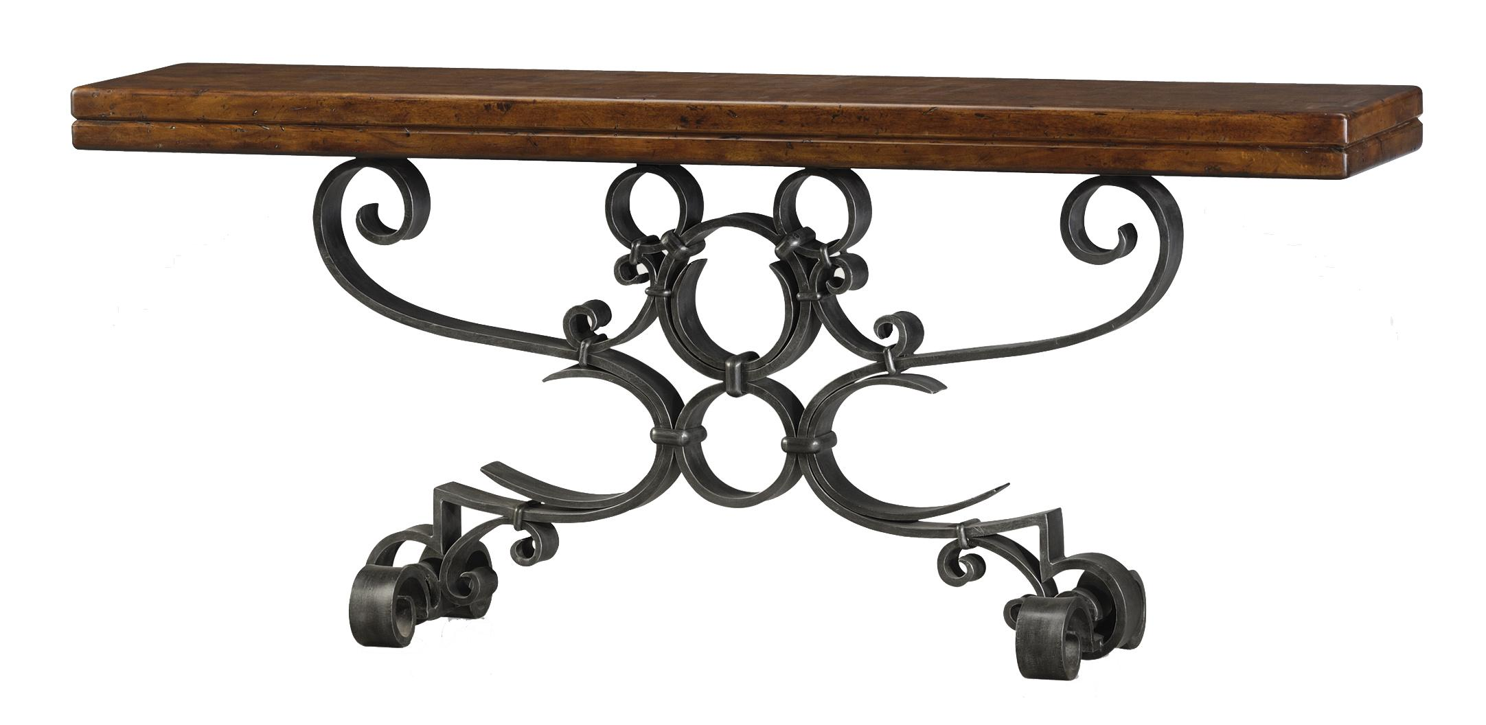 Classic yet Casual Iron Console Table by Theodore Alexander at Baer's Furniture