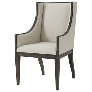 Englewood Armchair with Wing Back and Oatmeal Linen Fabric