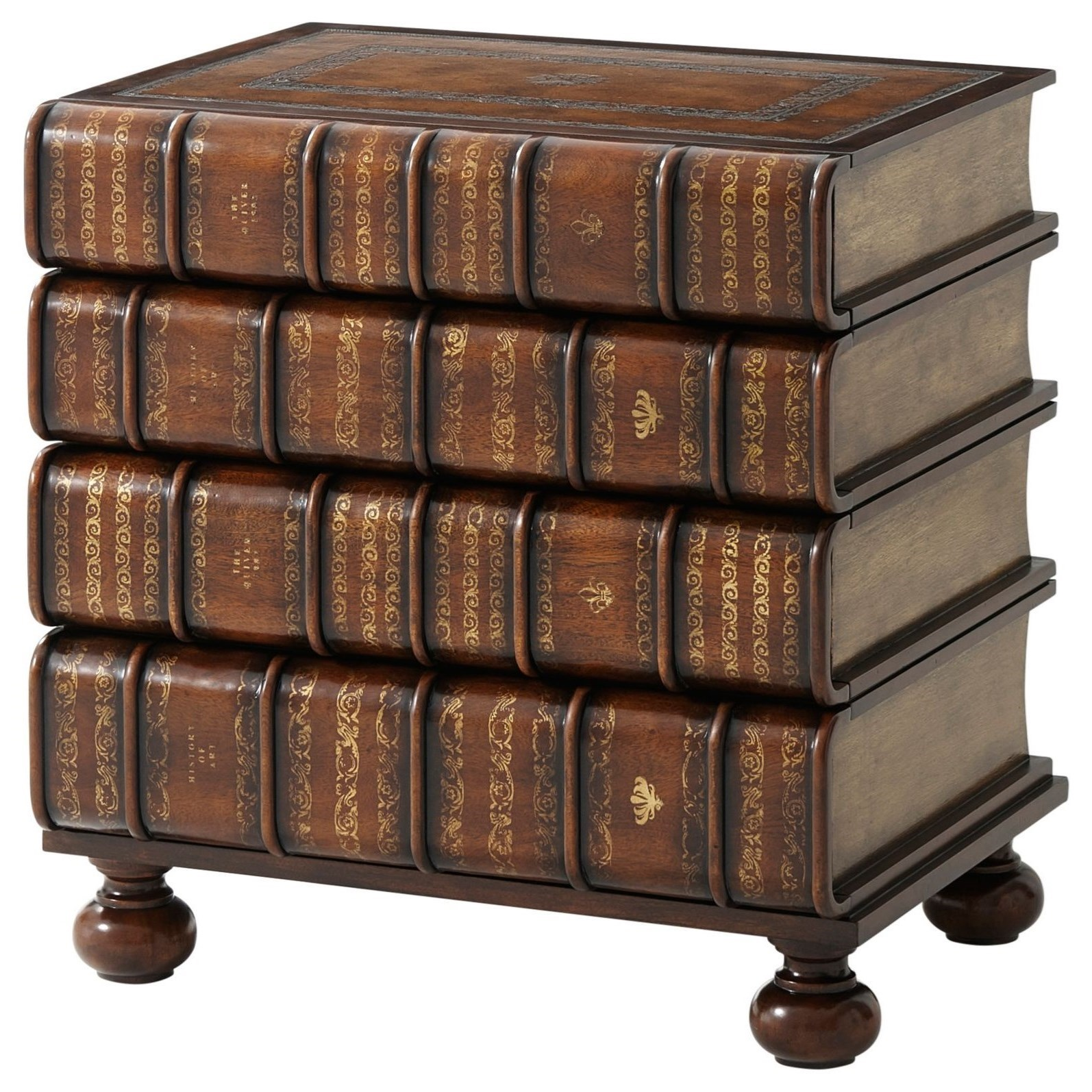 Essential TA Hand Carved/Gilt Faux Book Chest by Theodore Alexander at Baer's Furniture
