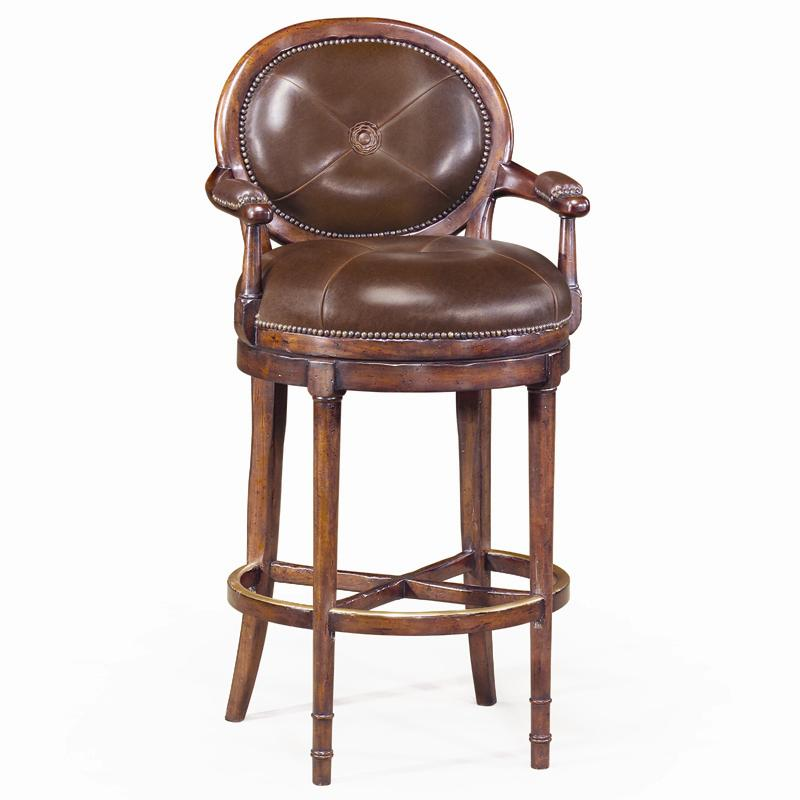 Seating Leather Oval Back Barolo Bar Chair by Theodore Alexander at Baer's Furniture