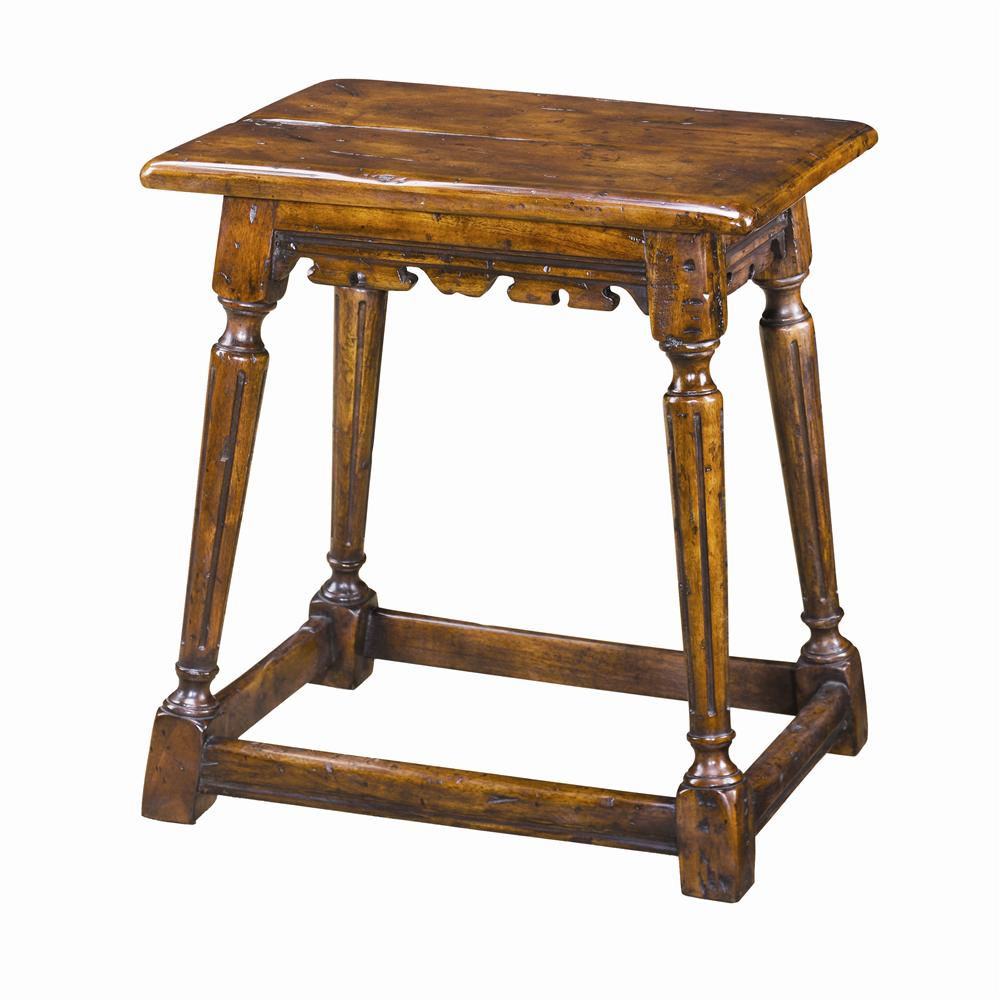Seating Antiqued Wood Joynt Stool by Theodore Alexander at Baer's Furniture