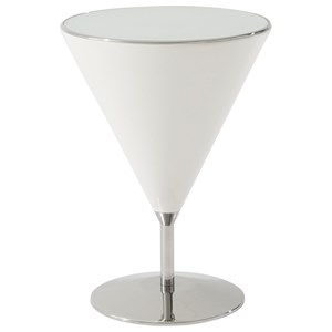 Mixology Accent Table with Quartz Finish and Stainless Steel Base