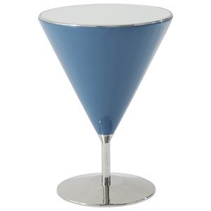 Mixology Accent Table with Aquamarine Finish and Stainless Steel Base