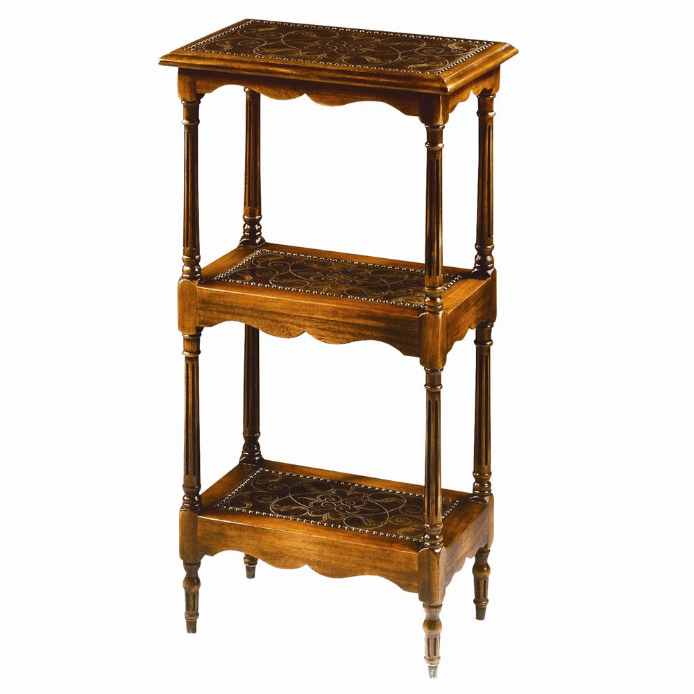 Tables 3 Tier Walnut and Brass End Table by Theodore Alexander at Baer's Furniture