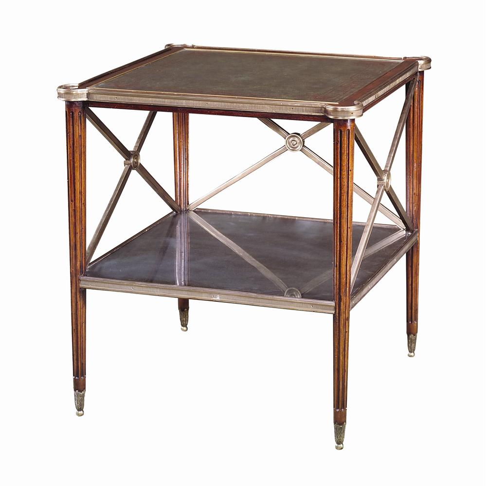 Tables Square Paneled Side Table by Theodore Alexander at Baer's Furniture