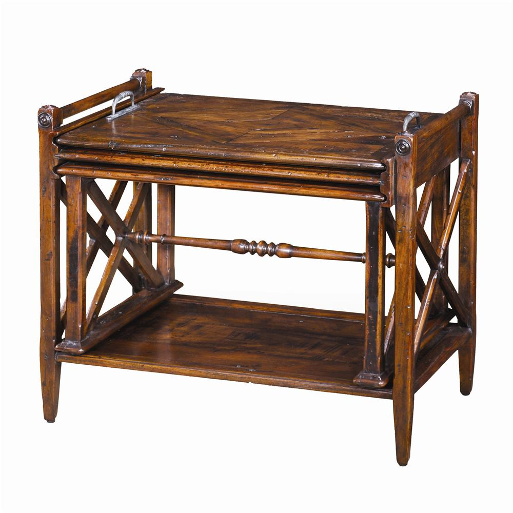Tables Antiqued Wood Parquetry Table Nest by Theodore Alexander at Baer's Furniture