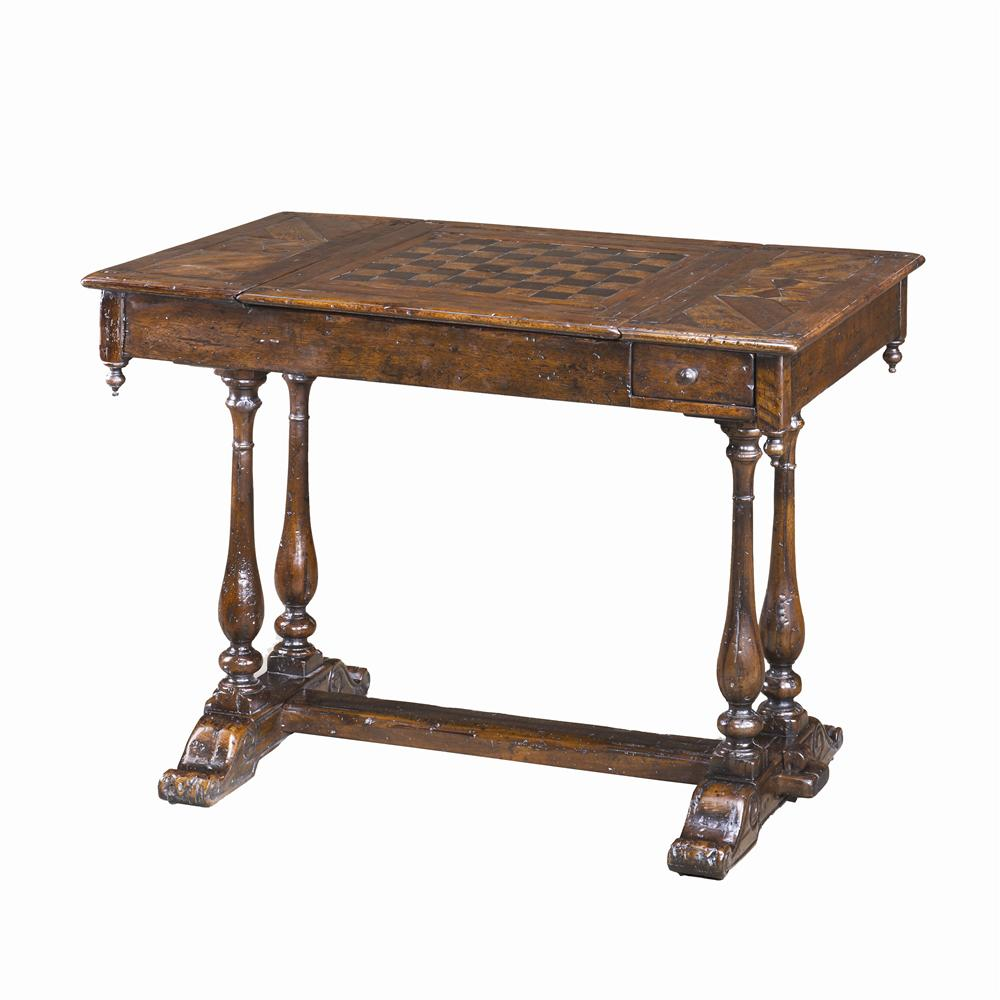 Tables Antiqued Wood Games Table by Theodore Alexander at Baer's Furniture