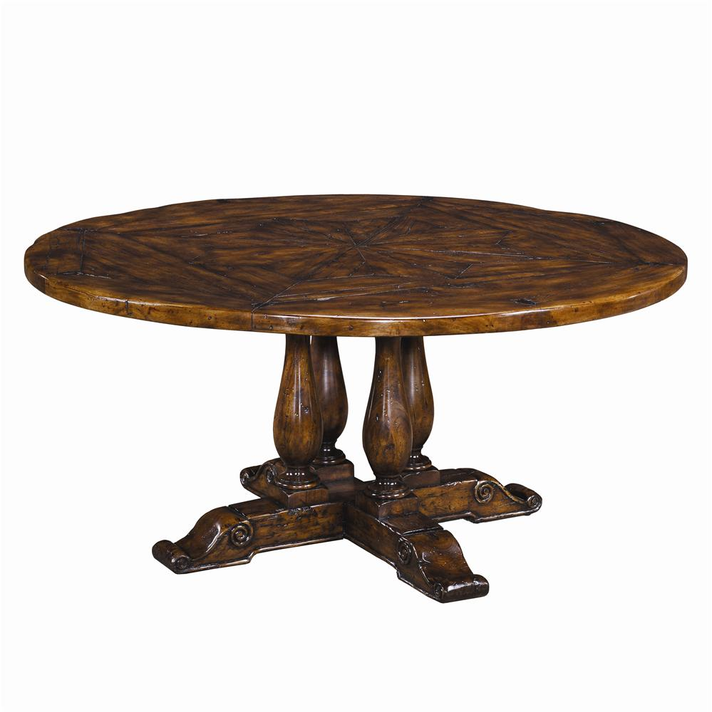 Tables Circular Antiqued Wood Dining Table by Theodore Alexander at Baer's Furniture