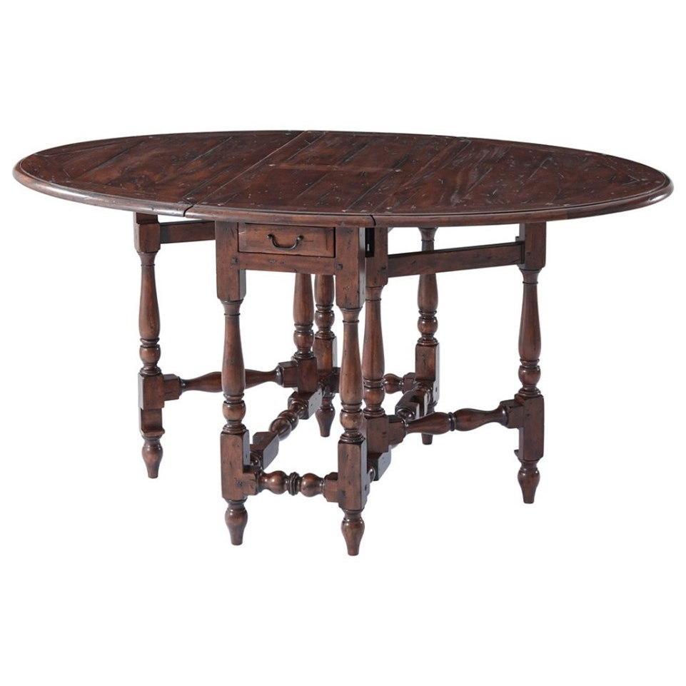 Tables Oval Antiqued Wood Dining Table by Theodore Alexander at Baer's Furniture