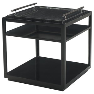 Black Lacquer Chester Accent Table with Removable Tray Top