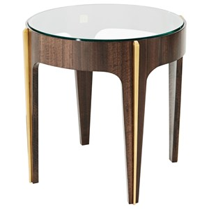 Bold Lamp Table with Brass Molding and Round Glass Top