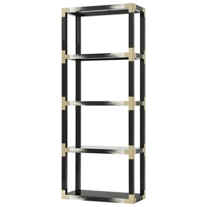 Black Lacquer Cutting Edge Etagere with Faux Horn Accents & Glass Inset Shelves