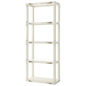 Longhorn White Cutting Edge Etagere with Faux Horn Accents & Glass Inset Shelves