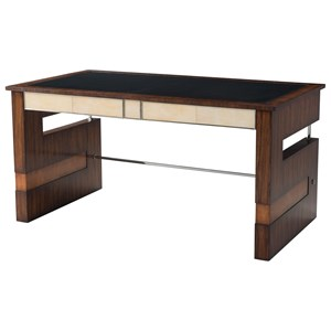 Striking Elements Writing Table with Inset Leather Top