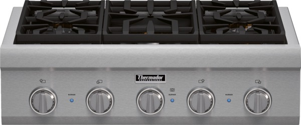 """Gas Cooktops - Thermador 30"""" 5 Burner Gas Rangetop by Thermador at Fisher Home Furnishings"""