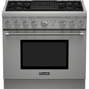 """36"""" Pro Harmony® 4 Burner Gas Range with Electric Grill"""