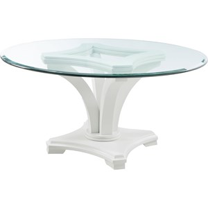 Contemporary Round Dining Table with Glass Top